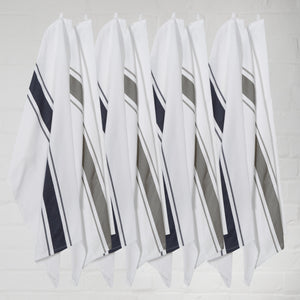 Large Set of 8 Striped Cotton Drill Tea Towels in Mixed Colours