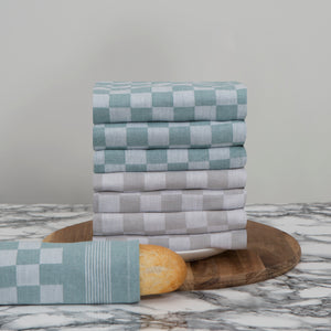 Large Set of 8 Woven Textured Check Tea Towels in Mixed Colours - Sticky Toffee Store