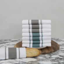 Laden Sie das Bild in den Galerie-Viewer, Large Set of 8 Striped Cotton Drill Tea Towels in Mixed Colours