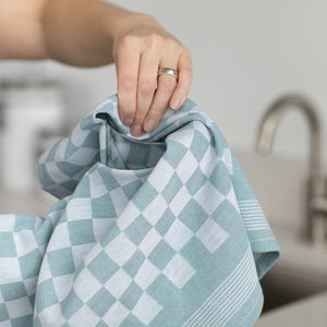 Set of 6 Woven Textured Check Tea Towels in Nine Colours - Sticky Toffee Store