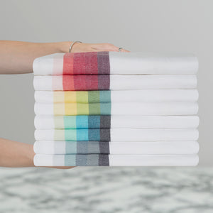 Large Set of 8 Multi-Coloured Herringbone Cotton Tea Towels in Mixed Colours