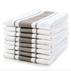 Large Set of 8 Striped Cotton Drill Tea Towels in Five Colours - Sticky Toffee Store