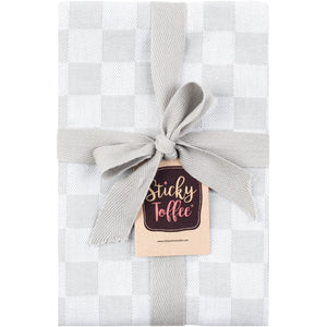 Set of 6 Woven Textured Check Tea Towels in Six Colours - Sticky Toffee Store