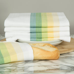 Set of 5 Multi-Coloured Herringbone Cotton Tea Towels in Five Colours - Sticky Toffee Store