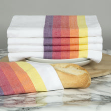 Load image into Gallery viewer, Set of 5 Multi-Coloured Herringbone Cotton Tea Towels in Six Colours - Sticky Toffee Store