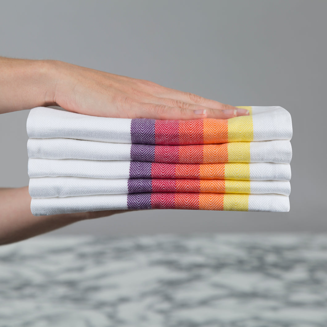 Set of 5 Multi-Coloured Herringbone Cotton Tea Towels in Six Colours - Sticky Toffee Store