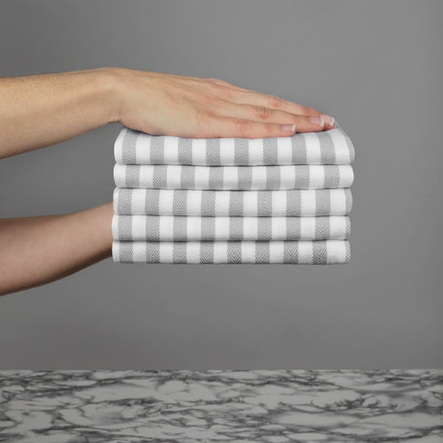 Set of 5 Thick Woven Herringbone Pin Stripe Thick Cotton Tea Towels in Three Colours - Cornwall Chic - Sticky Toffee Store