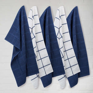 Set of 5 Window Pane Cotton Terry Tea Towels available in Four Colours - Sticky Toffee Store