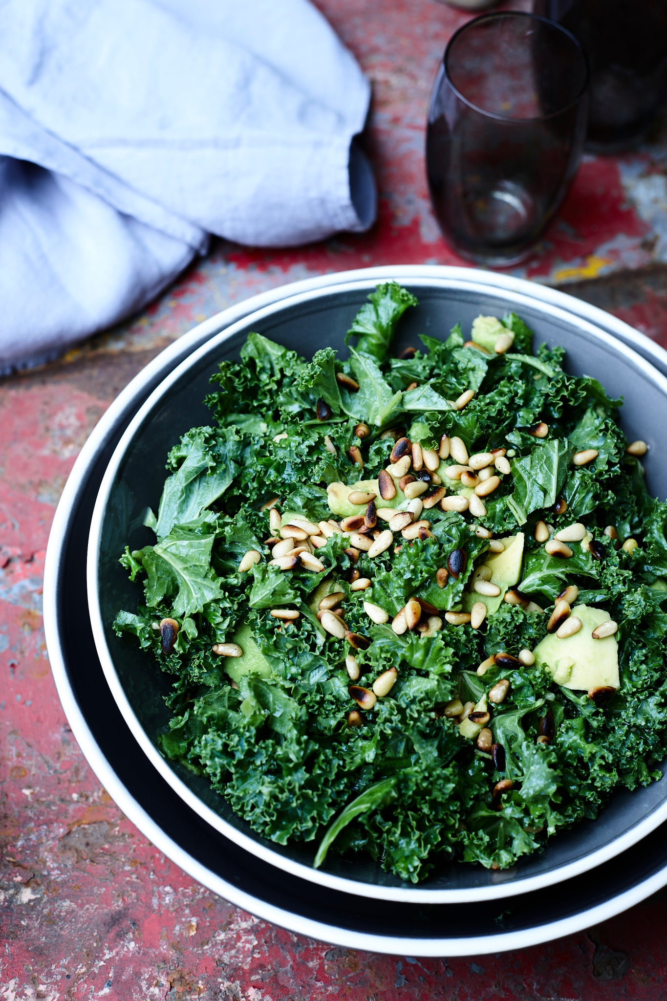 BABY KALE SALAD WITH PINE NUTS, PARMESAN & LEMON VINAIGRETTE