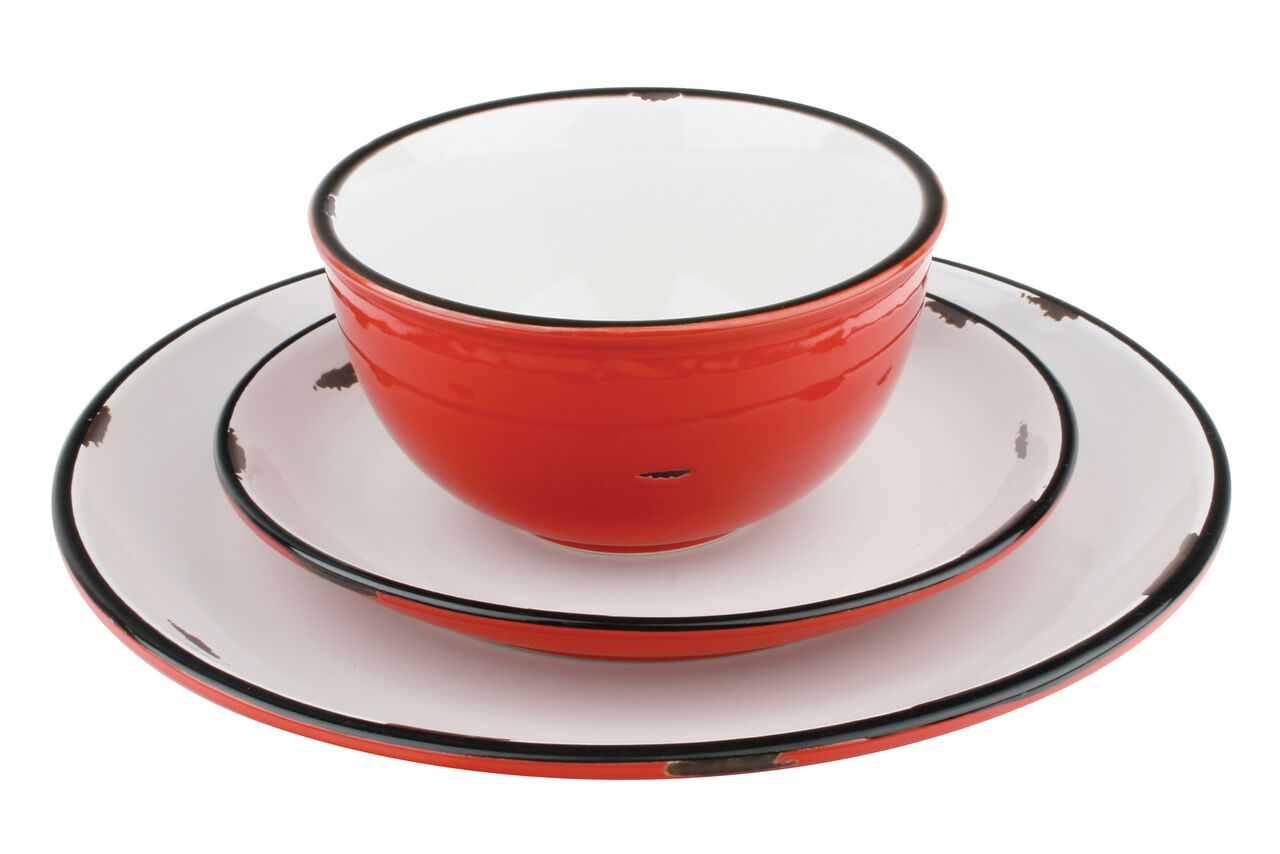 Tinware Dinner Plate in Red (Set of 4)