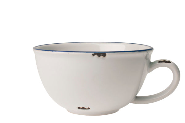 Tinware Latte Cup in White with Blue rim (Set of 4)