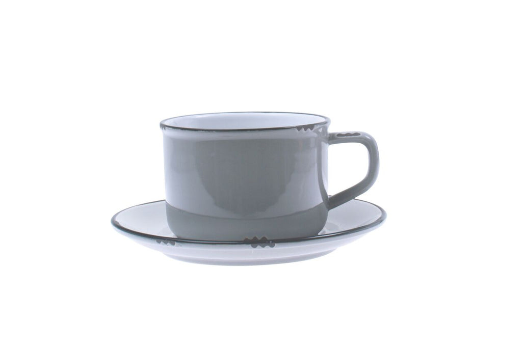 Tinware Cup and Saucer in Grey