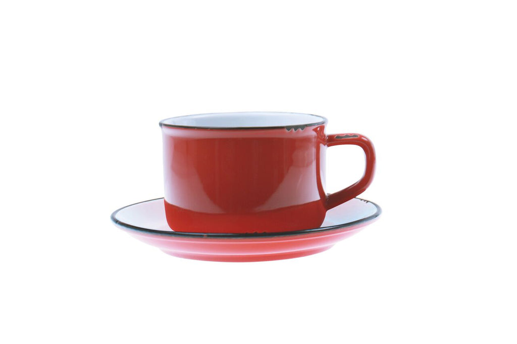 Tinware Cup and Saucer in Red
