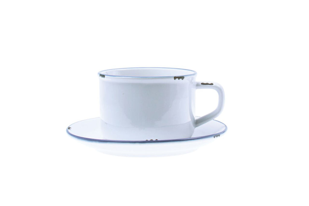Tinware Cup and Saucer in White