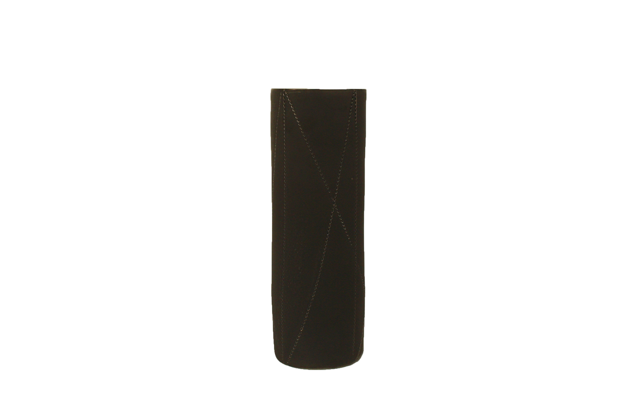 Small Taroudant Vase in Gun Metal Glaze with Diagonal Lines
