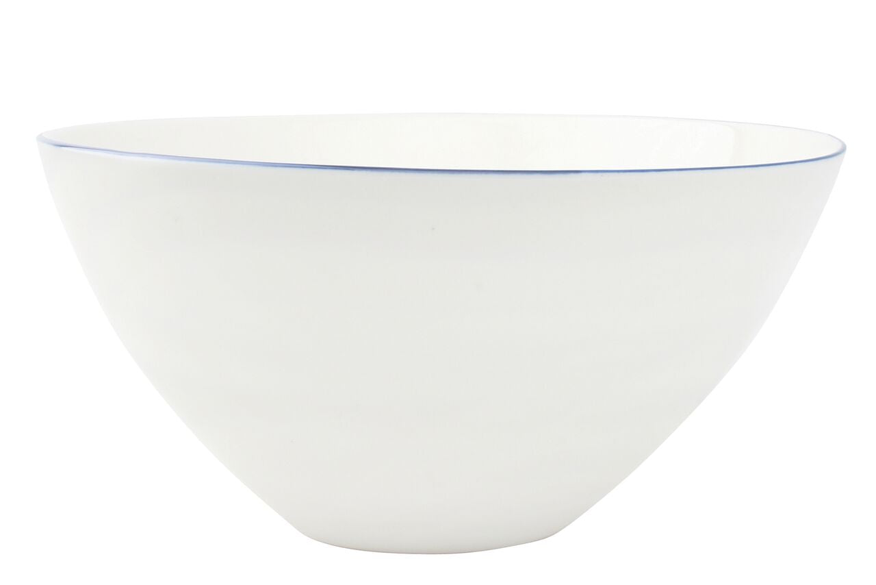 Abbesses Large Bowl Blue Rim (Set of 2)
