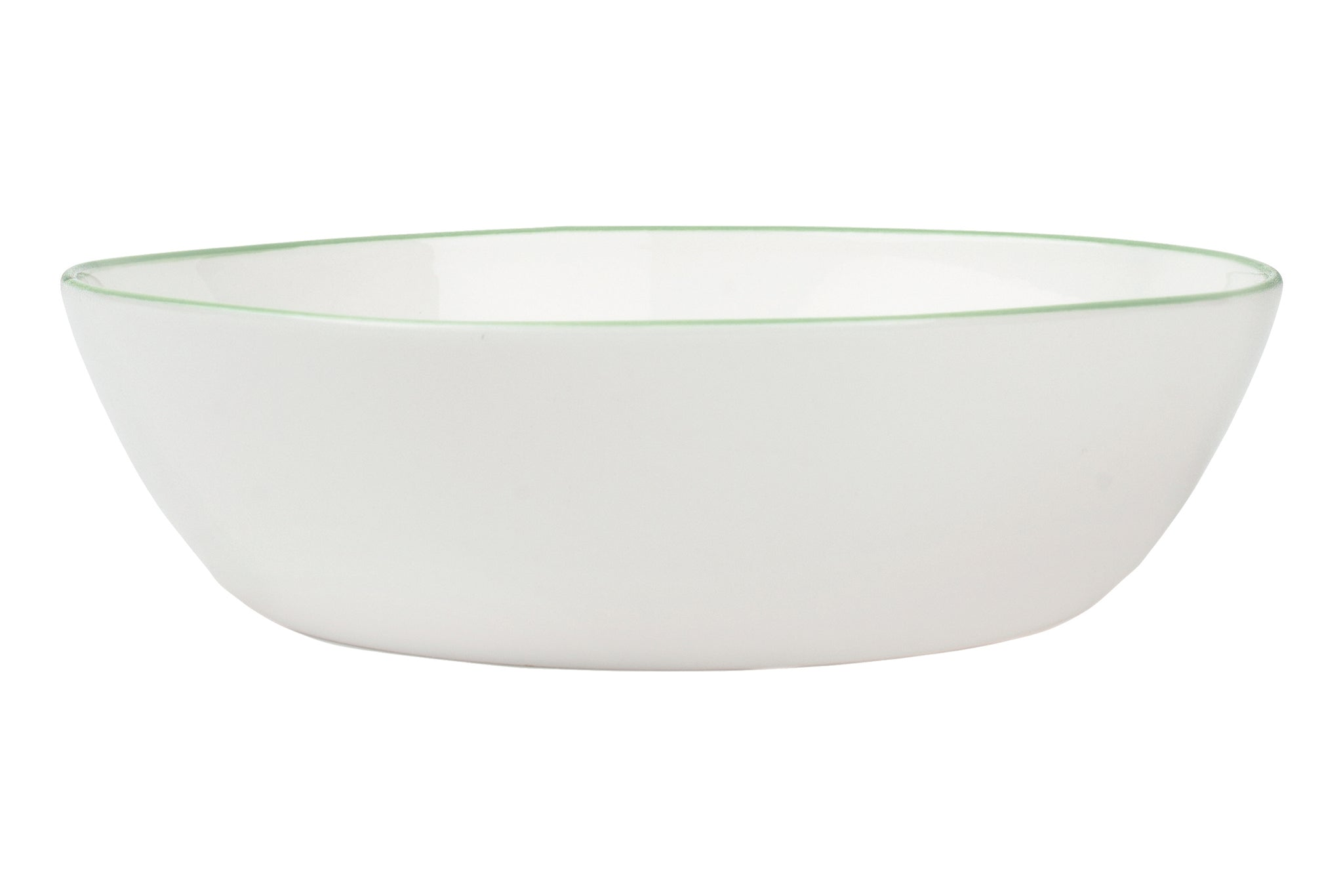 Abbesses Pasta Bowl Green Rim (Set of 4)