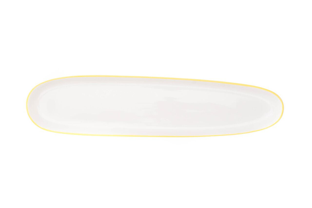 Abbesses Oblong Plate Yellow Rim (Set of 4)