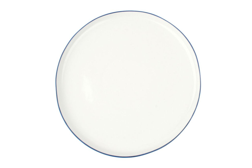 Abbesses Large Plate Blue Rim (Set of 4)