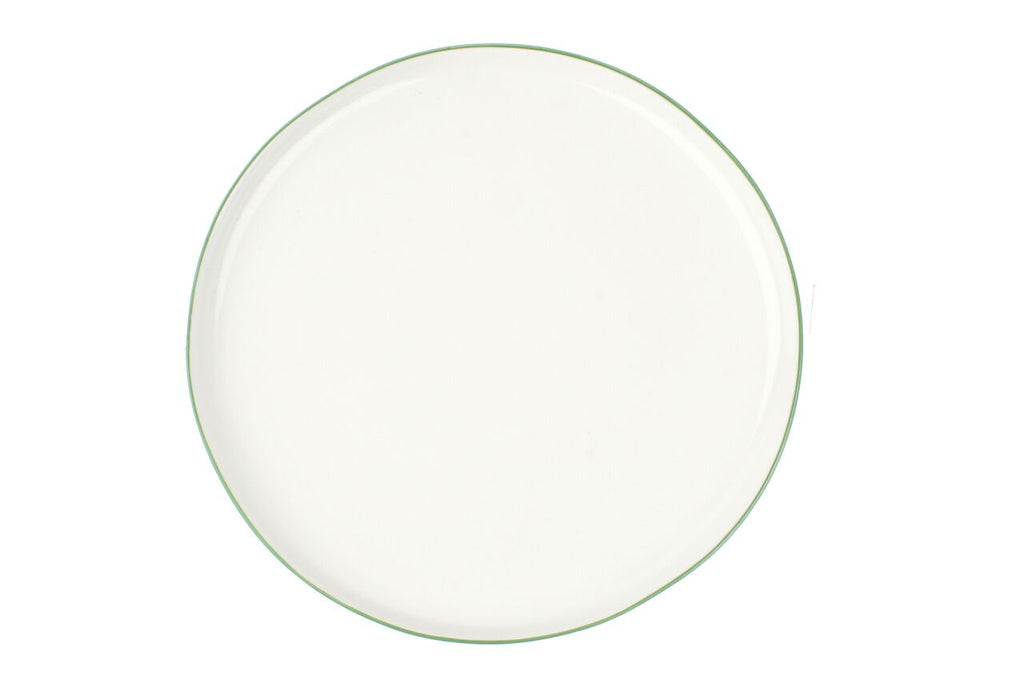 Abbesses Large Plate Green Rim (Set of 4)