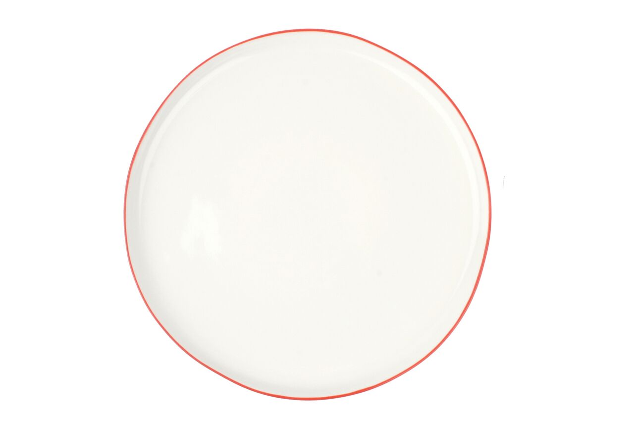 Abbesses Large Plate Red Rim (Set of 4)