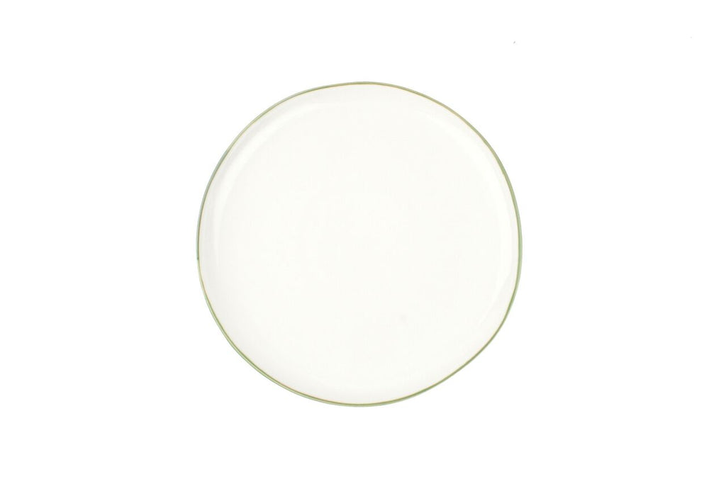 Abbesses Medium Plate Green Rim (Set of 4)