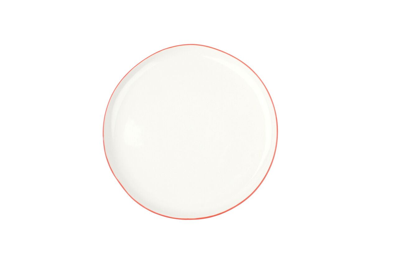Abbesses Medium Plate Red Rim (Set of 4)