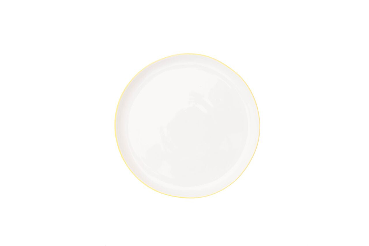 Abbesses Medium Plate Yellow Rim (Set of 4)