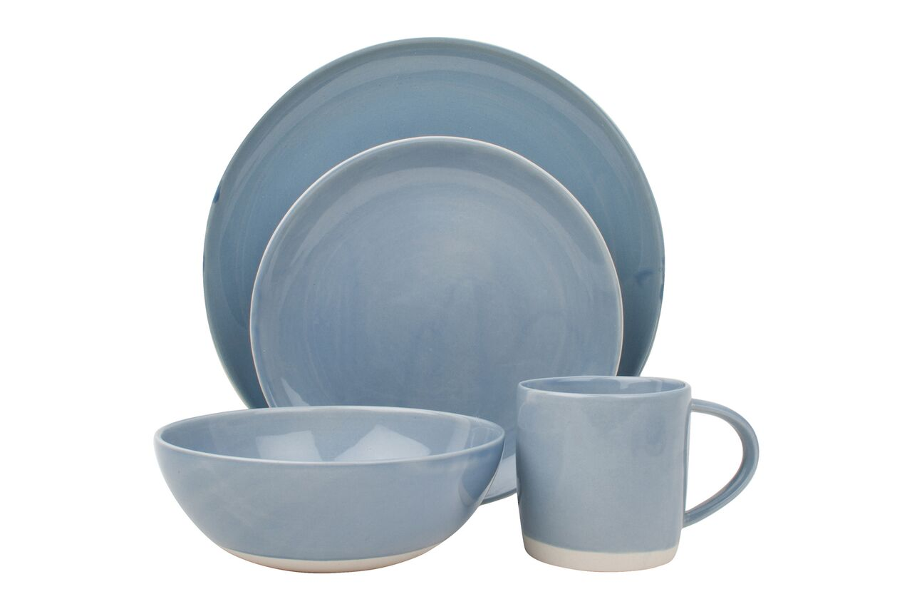 Shell Bisque Pasta Bowl Blue (Set of 4)
