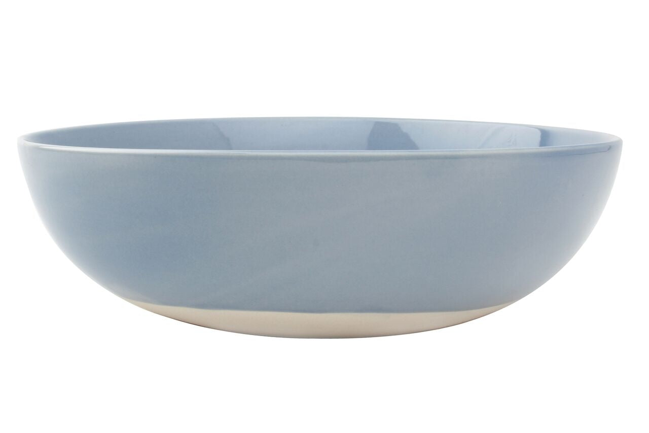 Shell Bisque Round Serving Bowl Blue