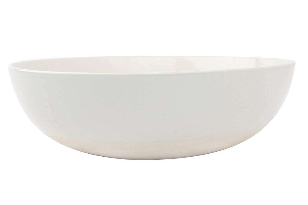 Shell Bisque Round Serving Bowl White