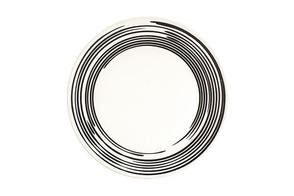 Salamanca Dinner Plate in Black & White Stripe - Canvas Home