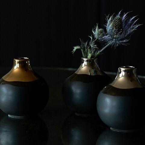 Dauville Charcoal Multiple Stem Bud Vases in Gold