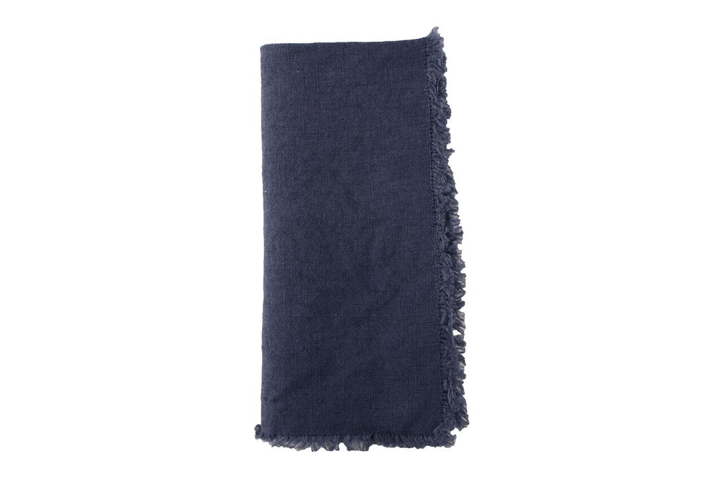 Lithuanian Linen Fringe Napkin in Cobalt Blue (Set of 4)