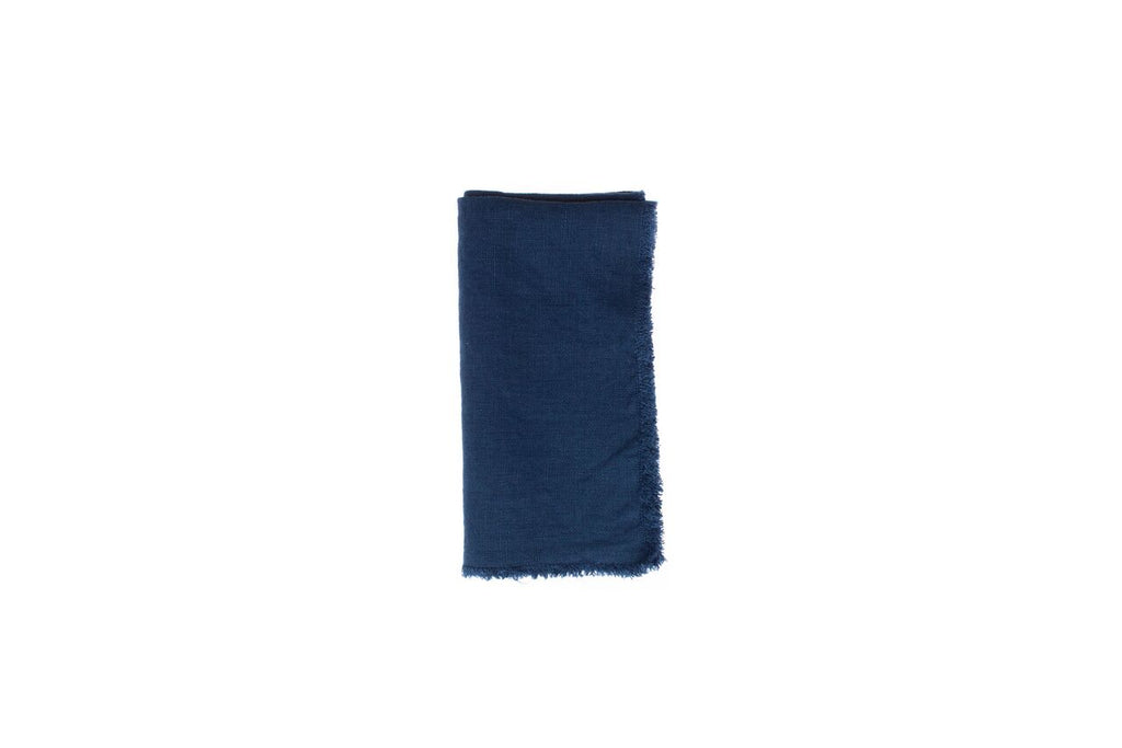 Lithuanian Linen Fringe Napkin in Dark Blue (Set of 4)