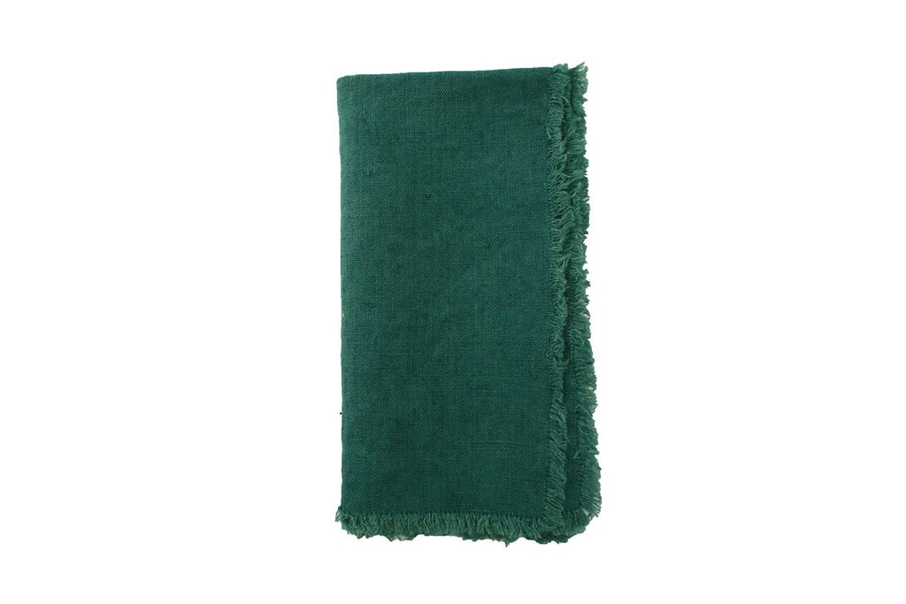Lithuanian Linen Fringe Napkin in Forest Green (Set of 4)
