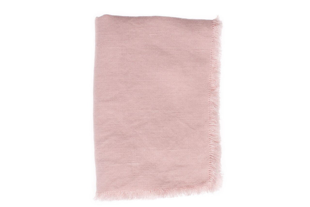 Lithuanian Linen Fringe Table Cloth in Pink