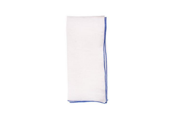Babylock Linen Napkin in White with Blue (Set of 4)