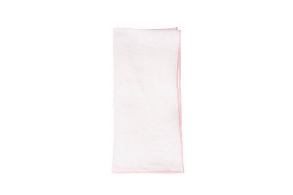 Babylock Linen Napkin in White with Pink (Set of 4)