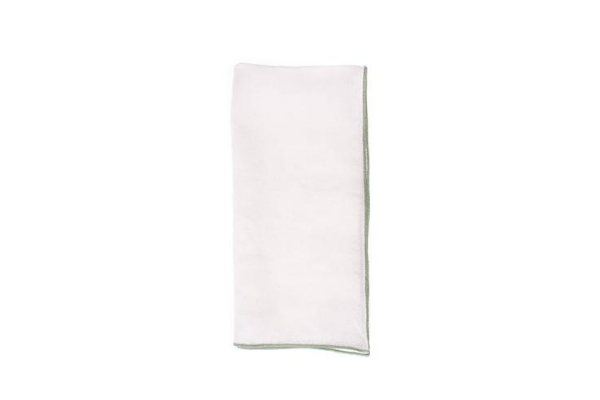 Babylock Linen Napkin in White with Sage (Set of 4)
