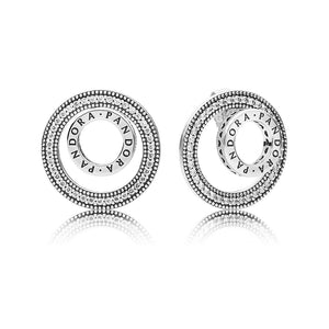PANDORA logo silver earrings with clear cubic zirconia