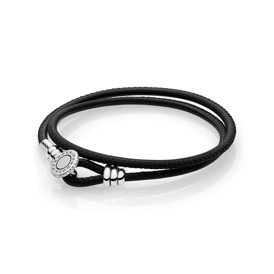 Pandora Moments Double Leather Bracelet, Black 597194CBK-D2