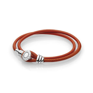 Pandora Moments Double Leather Bracelet, Spicy Orange 597194CSO-D2