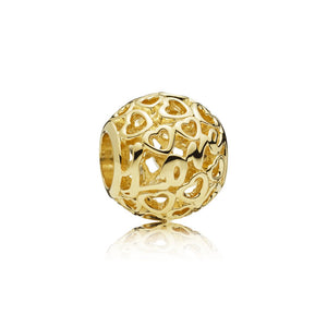 PANDORA Love and hearts gold Charm 757539