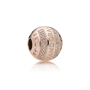PANDORA Rose logo clip with clear cubic zirconia and silicone grip