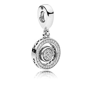 PANDORA logo silver spinning dangle with clear cubic zirconia