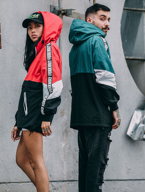 The Block Hugger Color Blocked Windbreaker in Red and Black
