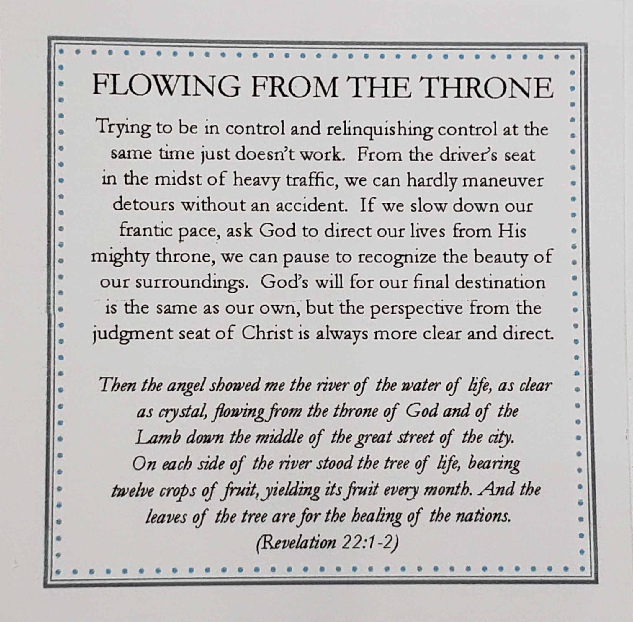 Flowing from the Throne