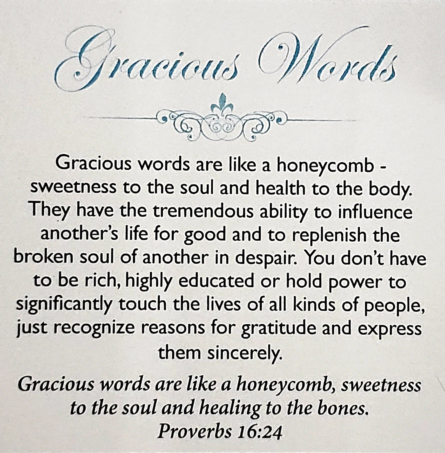 NEW Gracious Words