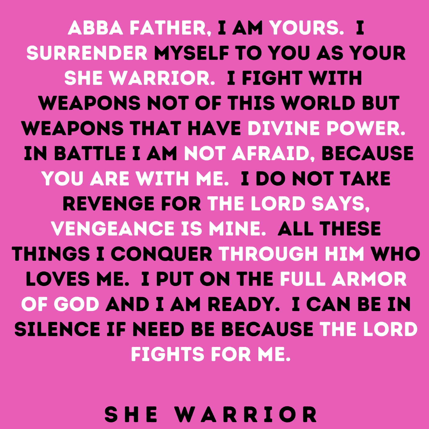She Warrior Prayer Card